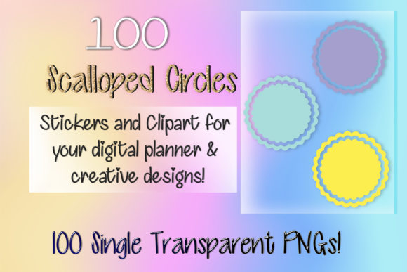 Print on Demand: 100 Scalloped Circles Digital Stickers Graphic Print Templates By AM Digital Designs