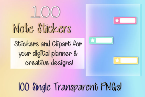 Print on Demand: 100 Star Note Clipart Digital Stickers Graphic Print Templates By AM Digital Designs