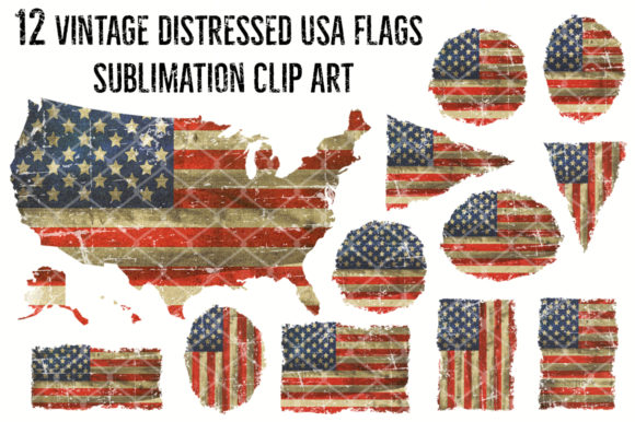12 Vintage Distress US Flag Sublimation Graphic Crafts By V-Design Creator