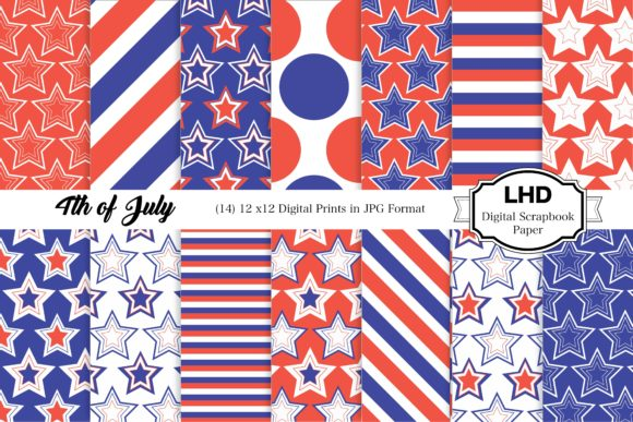 4th of July Digital Paper Pack Graphic Patterns By LeskaHamatyDesign