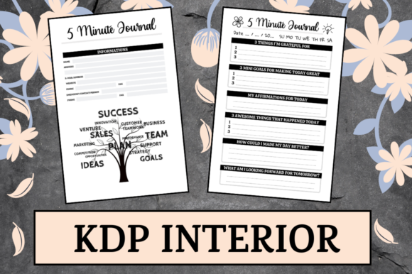Print on Demand: 5 Minute Journal | KDP Interior Graphic KDP Interiors By Hungry Puppy Studio