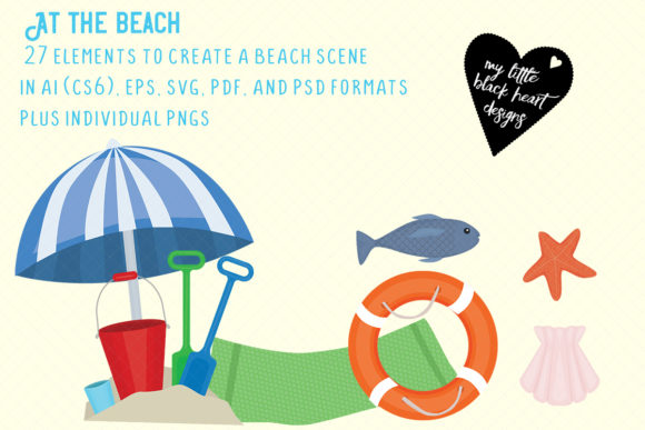 A Day at the Beach Set Graphic Illustrations By My Little Black Heart
