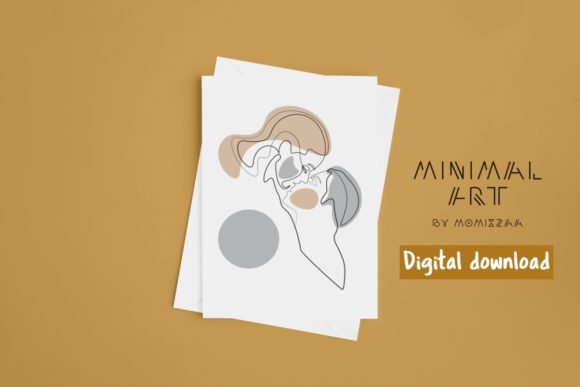 Print on Demand: Abstract Face One Line Art Print | Couple Graphic Illustrations By Momixzaa