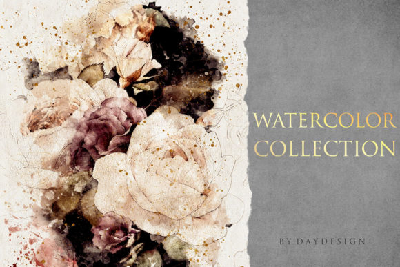 Abstract Flowers Watercolor Collection Graphic Backgrounds By DAYDESIGN