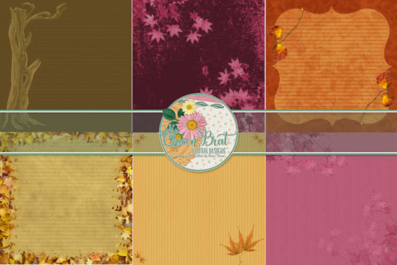 Print on Demand: Autumn Splendor Decorated Edge Papers Graphic Backgrounds By QueenBrat Digital Designs