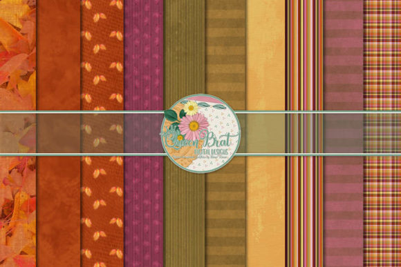 Print on Demand: Autumn Splendor  Patterned Papers Graphic Backgrounds By QueenBrat Digital Designs