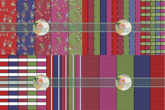 Print on Demand: Beary Christmas Paper Bundle Graphic Backgrounds By QueenBrat Digital Designs