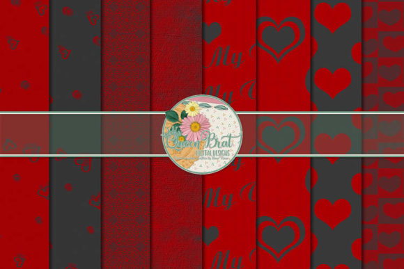 Print on Demand: Because U Love Me Heart Papers Graphic Backgrounds By QueenBrat Digital Designs
