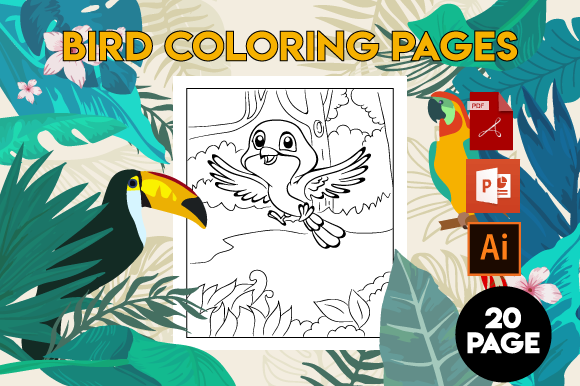 Print on Demand: Bird Coloring Pages for Kids Grafik Ausmalseiten & Malbücher für Kinder von MK DESIGNS
