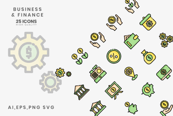 Print on Demand: Business Finance Line Color Graphic Icons By hai hai