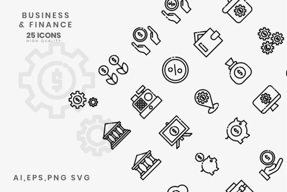 Print on Demand: Business Finance Line Style Graphic Icons By hai hai