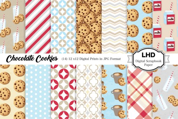 Chocolate Cookies Digital Paper Patterns Graphic Patterns By LeskaHamatyDesign