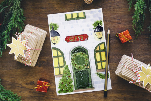 Print on Demand: Christmas Card. Christmas Eve. Cozy Home Graphic Illustrations By s.yanyeva