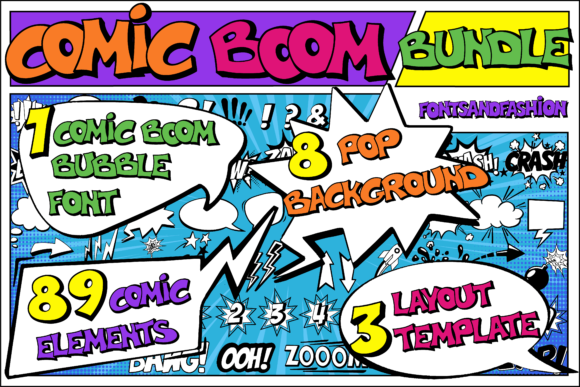 Print on Demand: Comic Boom Display Fuente Por Fontsandfashion