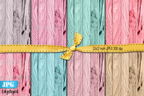 Print on Demand: Cupcake Wood Texture Digital Backgrounds Graphic Textures By CatgoDigital
