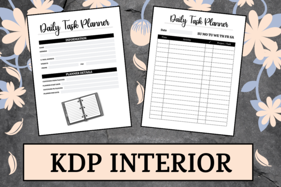 Print on Demand: Daily Task Planner | KDP Interior Graphic KDP Interiors By Hungry Puppy Studio