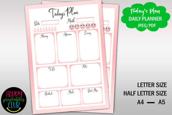 Print on Demand: Day Planner Printable-Daily Planner Graphic Print Templates By Happy Printables Club