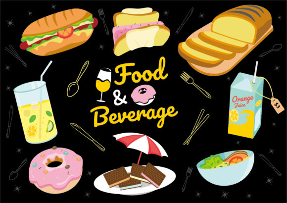 Doodle Clipart Icon Food Collection Set Graphic Illustrations By ABs