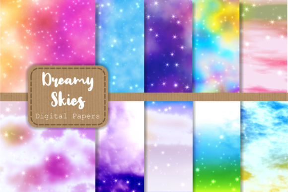 Print on Demand: Dreamy Starry Cloudy Sky Digital Papers Grafik Hintegründe von Prawny