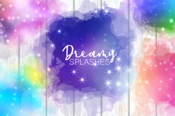 Print on Demand: Dreamy Starry Cloudy Sky Splashes Graphic Backgrounds By Prawny