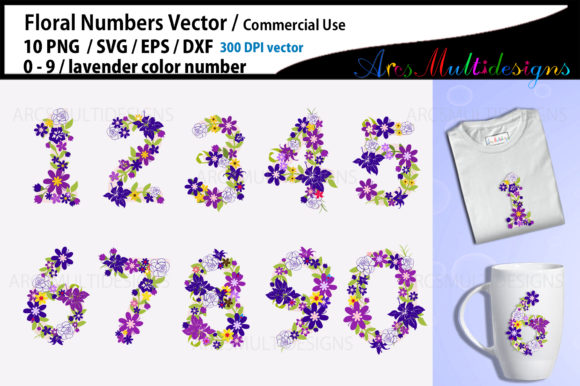 Print on Demand: Floral Numbers Lavender Floral Graphic Illustrations By Arcs Multidesigns