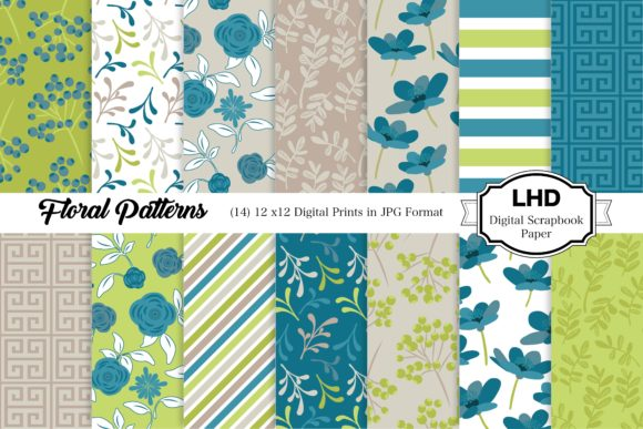 Floral Patterns - Digital Papers Graphic Patterns By LeskaHamatyDesign