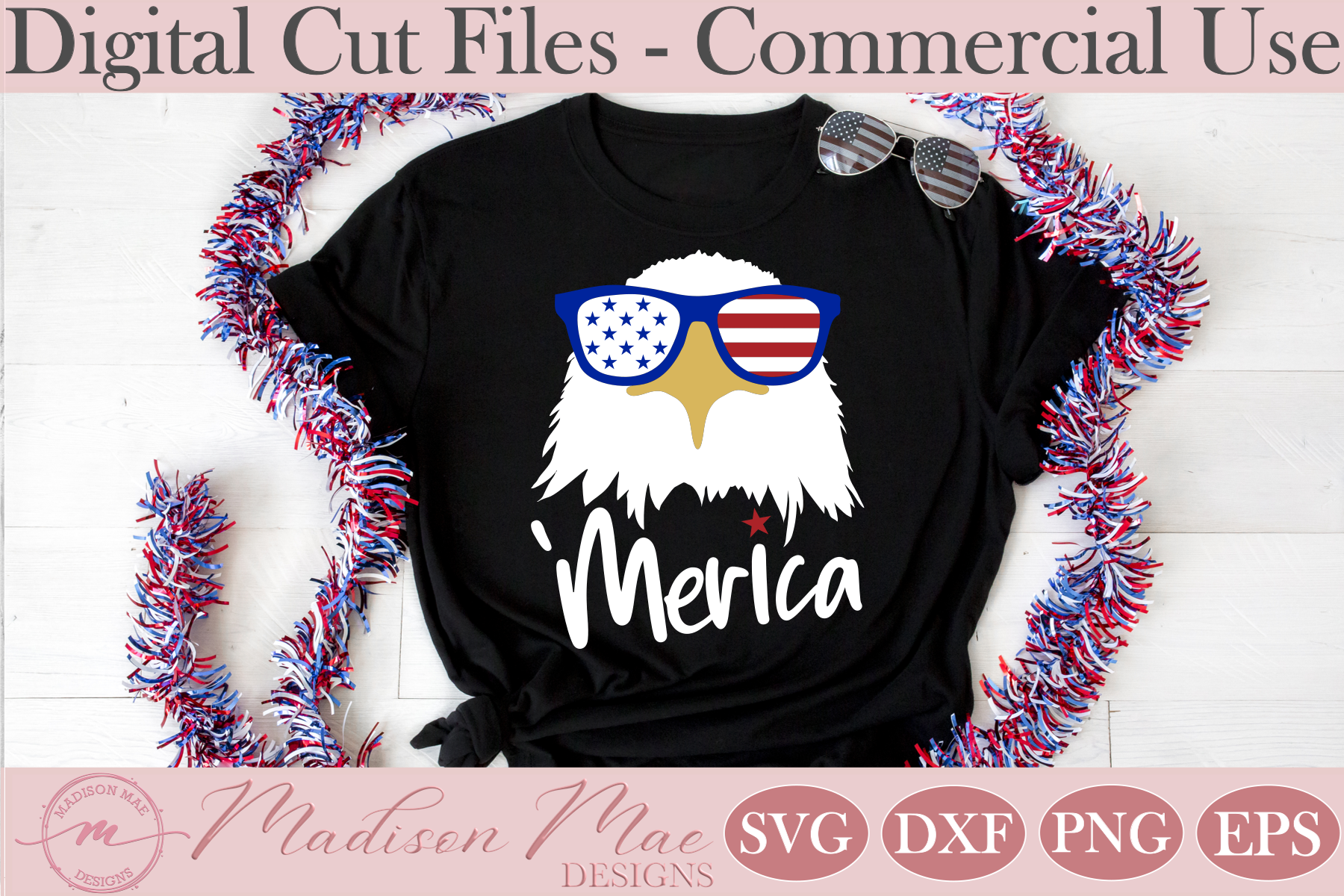 Download Free Fourth Of July Amercian Eagle Graphic By Madison Mae Designs for Cricut Explore, Silhouette and other cutting machines.