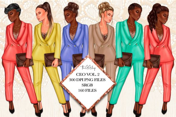 Print on Demand: Girl Boss Fashion Clipart Set Grafik Illustrationen von TheGGShop