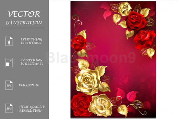 Greeting Card with Red Jewelry Roses Graphic Illustrations By Blackmoon9