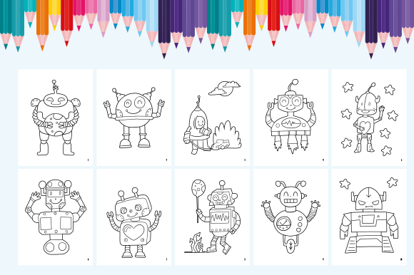 Happy Coloring Book 11 - Robots Graphic Download