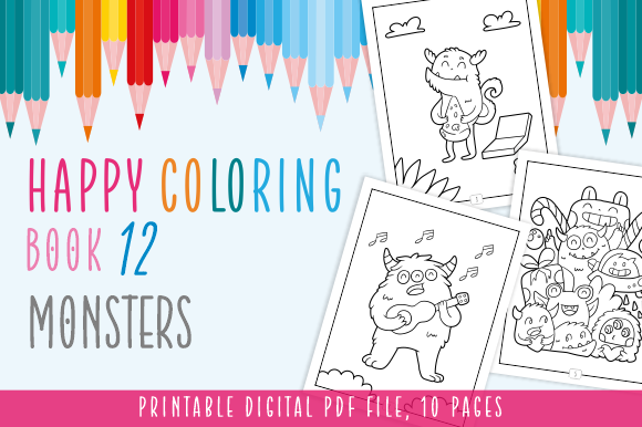 Print on Demand: Happy Coloring Book 12 - Monsters Graphic Coloring Pages & Books Kids By Momentos Crafter - Image 1