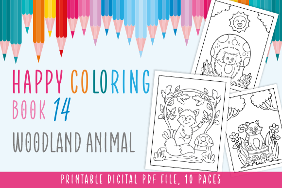 Print on Demand: Happy Coloring Book 14 - Woodland Animal Graphic Coloring Pages & Books Kids By Momentos Crafter