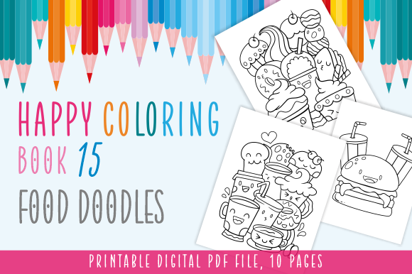 Happy Coloring Book 15 - Food Doodles Graphic