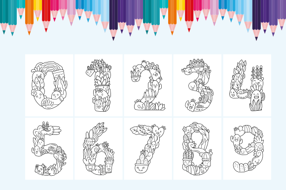 Happy Coloring Book 17 - Cactus Number Graphic Download