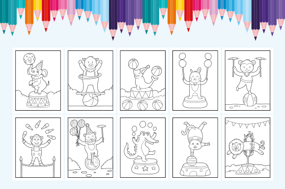 Happy Coloring Book 18 - Animal Circus Graphic Download
