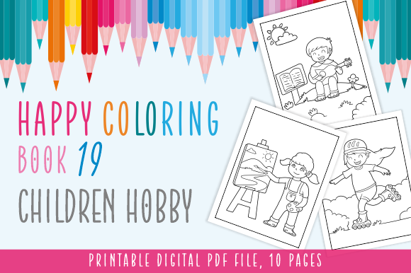 Happy Coloring Book 19 - Children Hobby Graphic
