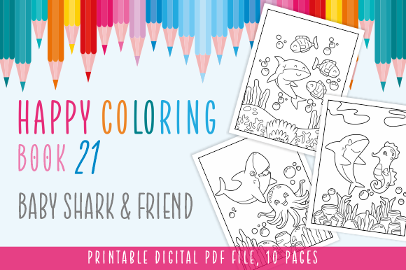 Print on Demand: Happy Coloring Book 21 - Shark & Friend Graphic Coloring Pages & Books Kids By Momentos Crafter