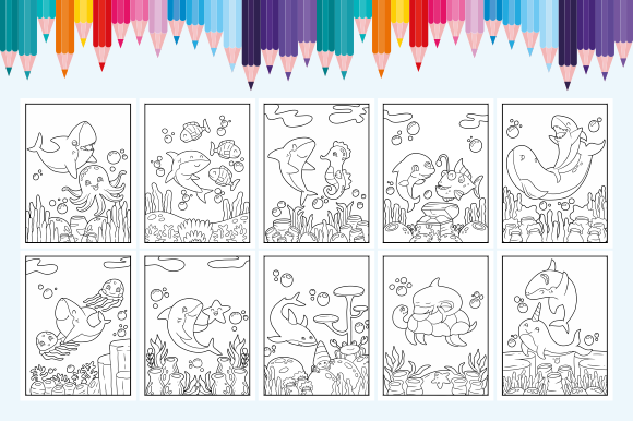 Happy Coloring Book 21 - Shark & Friend Graphic Download