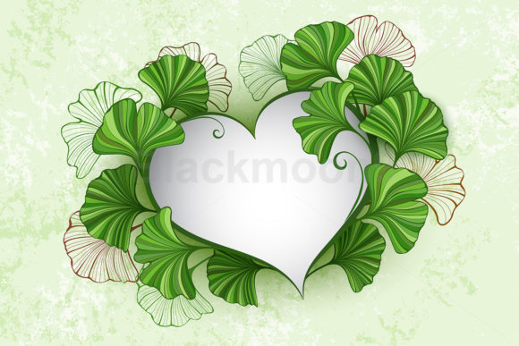 Heart with Leaves of Ginko Biloba Graphic Illustrations By Blackmoon9