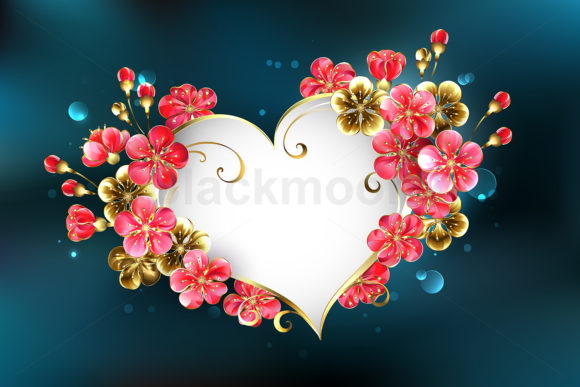 Heart with Sakura Flowers Graphic Illustrations By Blackmoon9