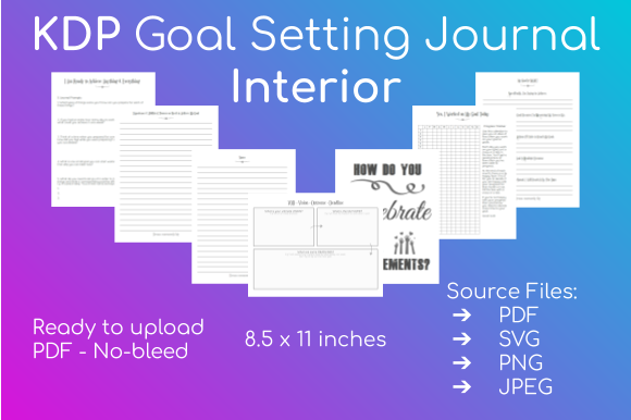 KDP Goal Setting Journal Interior Graphic KDP Interiors By Take It And Teach