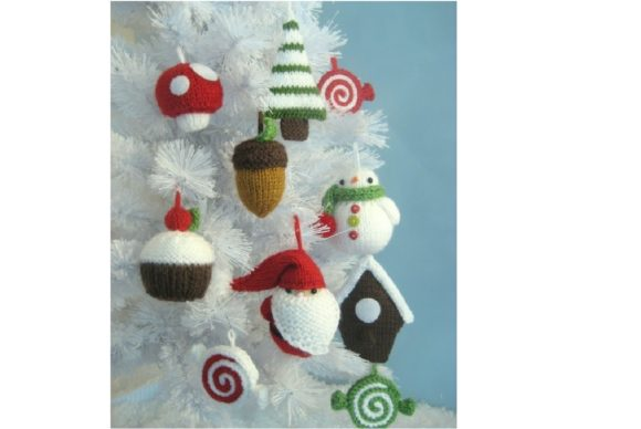 Knit Christmas Ornament Pattern Set Grafik Knitting Patterns von Amy Gaines Amigurumi Patterns