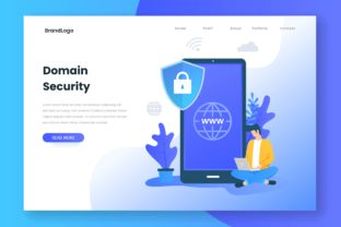 Landing Page Concept of Domain Security Graphic Illustrations By HengkiL