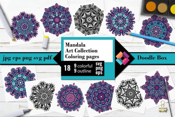 Mandala Art Collection Coloring Pages Graphic Coloring Pages & Books By DoodleBox