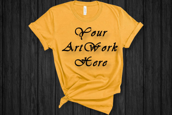 Mockup T-shirt Gold Bella Canvas 3001 Graphic Product Mockups By MockupsByGaby