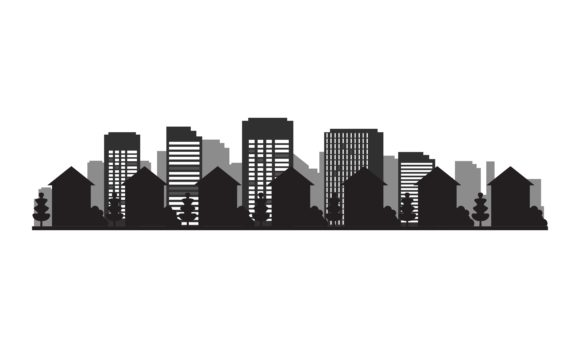 City Silhouette Graphic Architecture By DEEMKA STUDIO