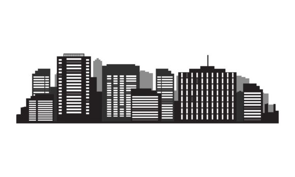 Modern Buildings Silhouette Graphic Architecture By DEEMKA STUDIO