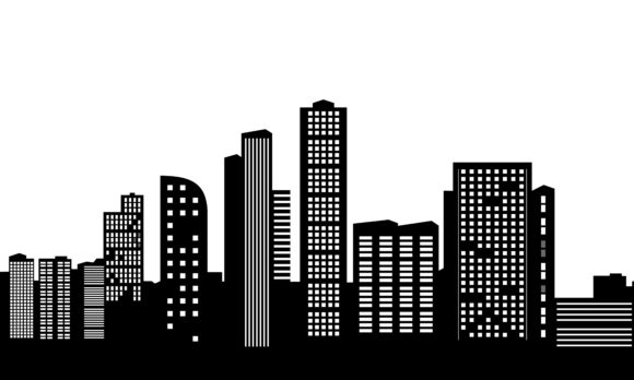 Modern City Silhouette Skyscrapers Graphic Architecture By DEEMKA STUDIO
