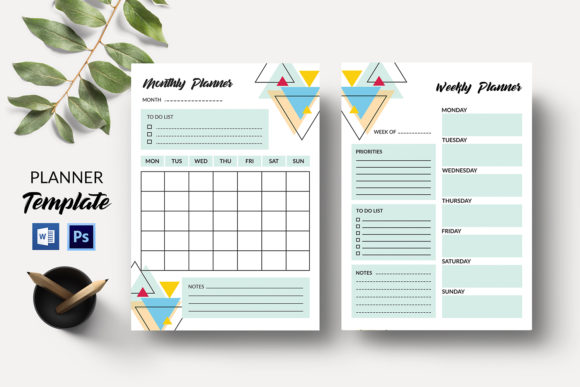 Monthly Planner, Weekly Planner Graphic Print Templates By sistecbd