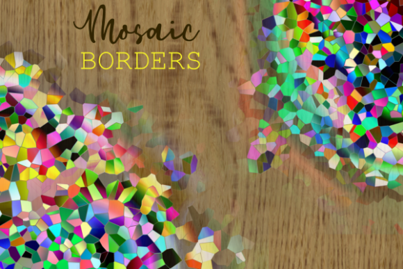 Print on Demand: Mosaic Crystal Polygon Pattern Borders Graphic Backgrounds By Prawny